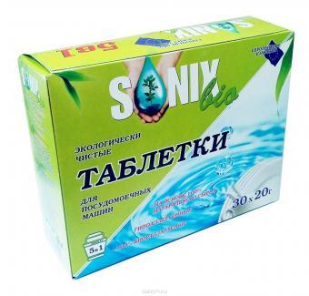 Таблетки СОНИКС БИО для ПММ, 5 в 1, прекрасно подходят для жесткой воды, 100% биоразлагаемые 30х20 г